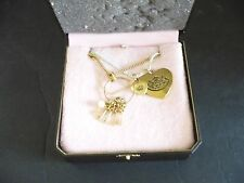Juicy Couture Necklace White and Gold Chain, Heart, Keys, With Box (YJRU1821)
