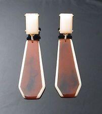 "ug vintage style brown earrings lady gaga type dangle jewelry 0.75""W 2.75""H NEW"