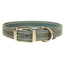 """Leather Dog Collar_Blue Jean Denim Color Leather_Med._ L_XL_1"""" Wide_Handmade"""