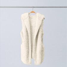 Womens Vest Winter Warm Jacket Hoodie Casual Outwear Faux Fur Zip Up Sherpa Coat