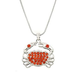"""Crab Charm Pendant Necklace - Sparkling Crystal - 17"""" Chain - 3 Colors"""