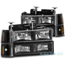 94-98 GMC C/K C10 1500 2500 SUBURBAN YUKON HEADLIGHTS W/BUMPER+CORNER LAMP BLACK