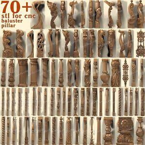 3d stl model cnc router artcam aspire 70+ pcs baluster pillar collection