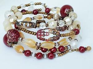 Vintage Cranberry Copper Glass Beads Handmade Stacking Memory Wire Wrap Bracelet