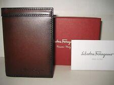 $320 NEW Salvatore Ferragamo Brown Nikos Leather Bifold ID Card Cash Case Wallet