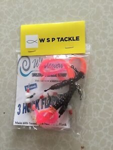 sea fishing ready tied cod and pollock rigs on 3/0 Hooks 50 /50 Fire Tails Worms