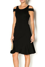 Rebecca Taylor Sz 0 XS Black Ponte Knit Off Shoulder Peplum Hem Dress