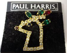 Vintage Paul Harris Retro Rudolph Reindeer Dangle Bell Christmas Pin Brooch