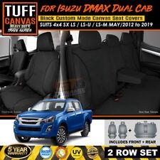 TUFF Canvas TRADE Seat Covers Isuzu D-MAX LS-U 4x4 SX 2Rows 5/2012-19 DMAX BLACK