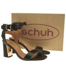 Schuh se livrer pour Femme en Cuir Noir à Talons Hauts Chaussures Taille UK5