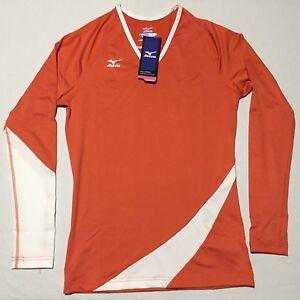 Mizuno DryLite Classic Carmel Orange White L/S V Neck Volleyball Jersey Womens S