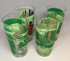 4 Vintage Glass Tumblers Forest Safety Keep America Green Bears Foxes Dear Fish