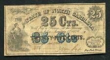 1864 25 TWENTY FIVE CENTS THE STATE OF NORTH CAROLINA RALEIGH, NC OBSOLETE
