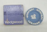Wedgwood Jasperware Blue Round Ash Tray Vanity Trinket Dish in Box 2115B