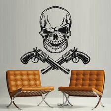 Wall Decal Sugar Skull Gun Weapon Pirate Flag vinyl room M173