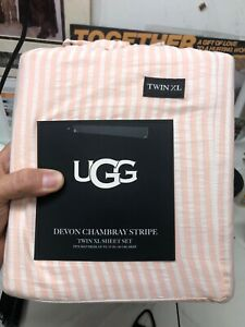 NEW UGG Twin XL Sheet Set Devon Chambray Sunset Stripe—Flat, Fitted, Pillowcase