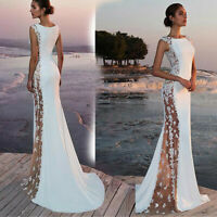 Solid Formal Wedding Bridesmaid Lace Evening Party Ball Prom Women Long Dress
