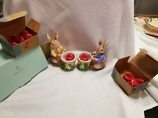 Partylite Easter Bertie and Bea Bunny Candle Votive Holders Retired 11 candles
