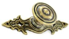 PACK of 6 x ANTIQUE BRASS METAL 29mm CABINET DOOR KNOBS WITH ORNATE BACKPLATE