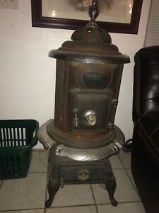 Antique parlor stove Hutch cast iron coal wood BPM pot belly chrome vintage