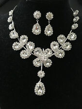 Wedding Bridal Jewelry Sets Crystal Rhinestone Water Drop Necklace Earrings