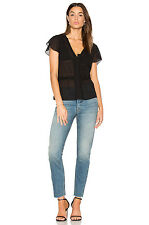 NEW FRAME Denim Windowpane Blouse in Noir- size S $295