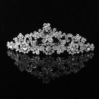 Wedding Bridal Crystal Diamante Butterfly Flower Crown Headband Tiara Silver