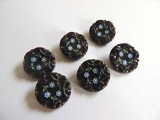 6 boutons anciens en verre noir à décor de fleurs bleues, collection mercerie
