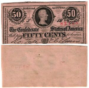 1863 50 CENT Confederate States of America JEFFERSON DAVIS T-63-486 Uncirculated