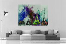PARIS TOUR EIFFEL TOWER ABSTRACT ABSTRAIT  Wall Art Poster Grand format A0