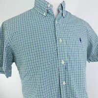 RALPH LAUREN SHORT SLEEVE GINGHAM BLUE GREEN CHECK BUTTON DOWN SHIRT MENS SZ L