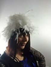 Chapeau bonnet burlesque spectacle cabaret plumes blanches original