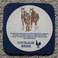 Vintage Courage Beer Mat Shire Horse Centre - Horses/Drayman/Drink Drive Message