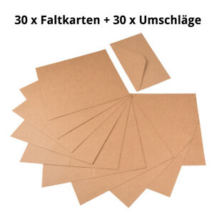 60 tlg. Set Kraftpapier Klappkarten und Briefumschläge aus Naturkarton
