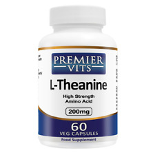 L-Theanine, 200mg x 60 Veg Capsules, PremierVits, 24Hr Dispatch, UK Manufactured