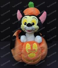 """DISNEY PARKS HALLOWEEN Plush FIGARO Cat in MICKEY Mouse PUMPKIN 11"""" NWT"""