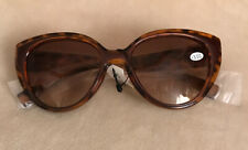 JOY MANGANO BIFOCAL READER SUNGLASSES CATEYE STYLE +3.00 NEW~100% UV w/GOLD CASE