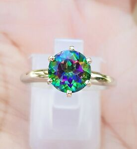 1.00ct Natural VS Green Mystic Topaz Solitaire Ring Solid 14K White Gold Promise