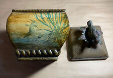 Decorative Asian Style Container W/ Lid, Bird Design Theme Metal Bird Perched
