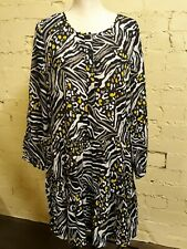 Long sleeve dress, black/white/yellow graphic pattern, size 16, tiered skirt