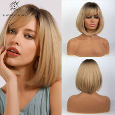 Women Short Blonde Mixed Black Root Ombre Synthetic Hair Wigs with Natural Bangs