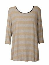 3/4 Sleeve Scoop Neck Striped Tunic, Kaftan Women's Tops & Shirts