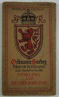 1927 Old OS Ordnance Survey Popular Edition One-Inch Map 67 Stirling Dunfermline