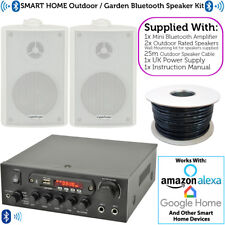 Outdoor Bluetooth Speaker Kit – 2x White – Karaoke/Stereo Amp Garden BBQ Parties