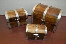 3 PCS HANDMADE PIRATE TREASURE CHEST JEWELRY TRINKET WOOD BOX F-391/B/C
