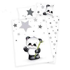 3 tlg Baby Bettwäsche Flanell Panda Bär 100x135 inkl. 1 Spannbettlaken