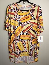 3117 NWT LuLaRoe IRMA TUNIC Shirt S SM SMALL Americana Yellow Blue Red Hot Dogs