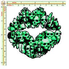 Adesivi moto labbra sticker bomb lips skull green stylized helmet auto 1 pz.