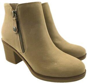 Womens Faux Leather Block Heel Cowboy Western Chelsea Ankle Biker Boots Size 3-8