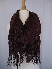 Collection XIIX Eighteen Chevron Pleated Metallic Fringe Scarf Syrah Red #4140